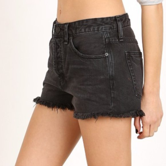 Free People Denim Uptown Button-fly Black Shorts
